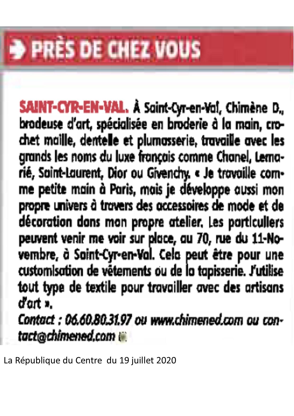 Chimène D broderie à orléans loiret presse